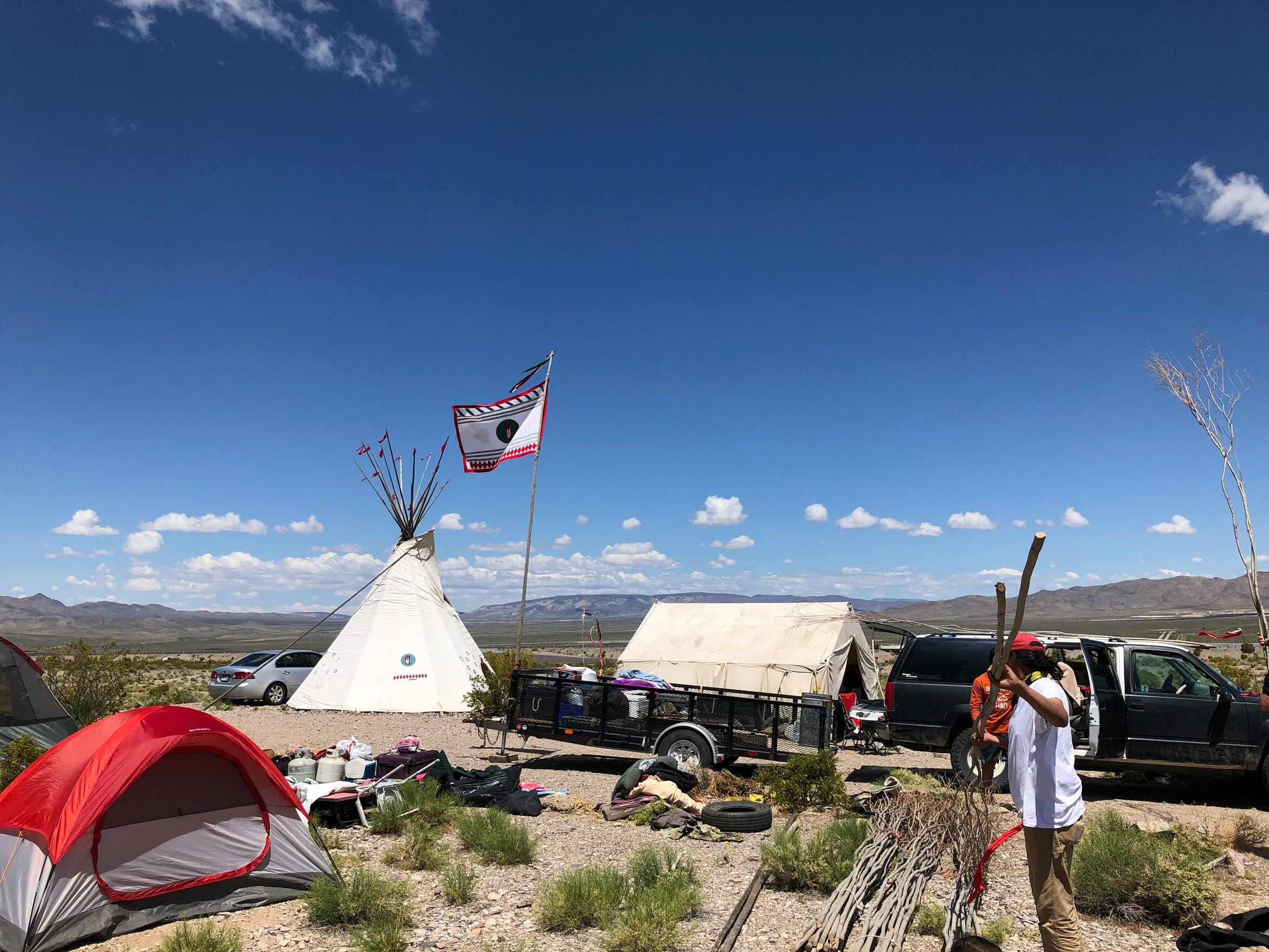 A prayer camp in Mercury, about 70 miles northwest of Las Vegas, built on Mother's Day weekend in protest of a federal push to dump the country's nuclear sludge in Yucca Mountain.