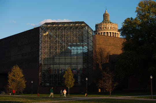 University of Rochester's Wilson Commons and Rush Rhees Library are pictured November 5, 2014.