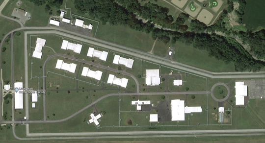 An overhead view of the Livingston Correctional Facility in Sonyea, New York.