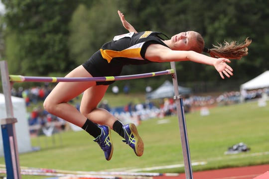 Cascade's Emma Gates competes in the high jump during the OSAA 3A/4A State Track and Field Meet at Mt. Hood Community College on Friday, May 17.