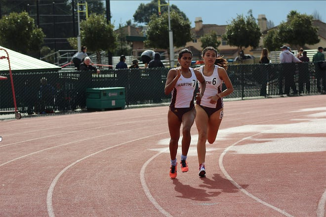 Freshman Daniela Salazar (left) and sophomore Monica Ruelas were two event winners for the Panthers as they made school history at the CCCAA NorCal championships.