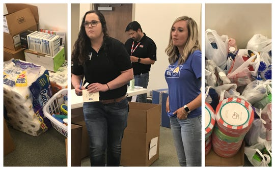 Robyn Flores, right, with the United Way of the Concho Valley, supervises volunteers distributing household goods for local veterans in need.