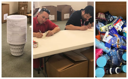 "Volunteers with the United Way of the Concho Valley's Day of Caring event write ""Thank you"" notes to accompany baskets full of household goods to benefit local veterans on Friday, May 17, 2019 in San Angelo."