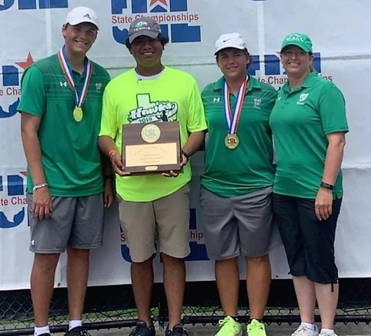 Wall High School's boys doubles team of Colton Chitsey (far left) and Shawn Labedelle (second from right) defended its Class 3A title at the UIL state tennis tournament in College Station Friday, May 17, 2019. Head coach Coby Velez and assistant Michelle Mackey are also pictured.