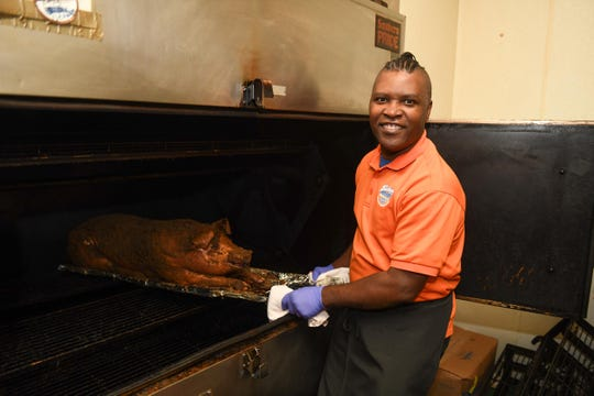 Floyd Evans, pitmaster, at Bethany Blues in Lewes, Del.