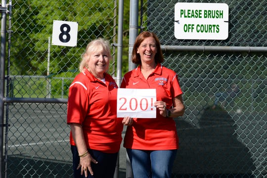 Cyndee Hudson (left) and Debbie Speier are retiring after 18 years as coaches for the Worcester Prep girls tennis team.