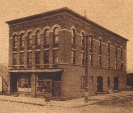 The Blauvelt building housed the Dakota Iron Works, an agricultural implement firm, from 1910 until 1986. This image is from 1927.