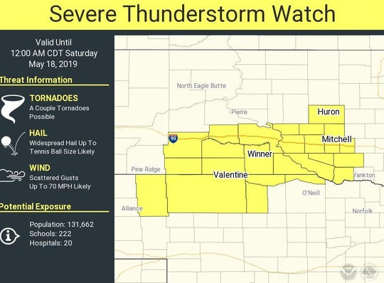Severe thunderstorm watch issued for south-central South Dakota.