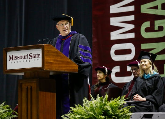 Clif Smart, president of Missouri State University, speaks during the graduation ceremony at JQH Arena on May 17, 2019.