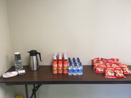 Drinks and snacks are ready to go at Victory Mission's new Women's Drop In Center, which will be open 10 a.m.-2 p.m. Thursdays at the administration building, 1715 N. Boonville Ave.