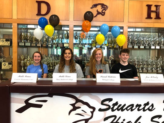 Maddie Renner, Maddie Varner, Hannah Chatterton, and Jesse McCauley announced their college decisions Friday. The Stuarts Draft senior athletes took part in a celebration in the school's gym lobby.