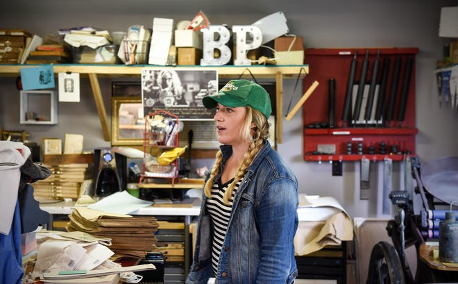 Mary Bruno gives a tour of her St. Joseph Letterpress Print Shop in this file photo.