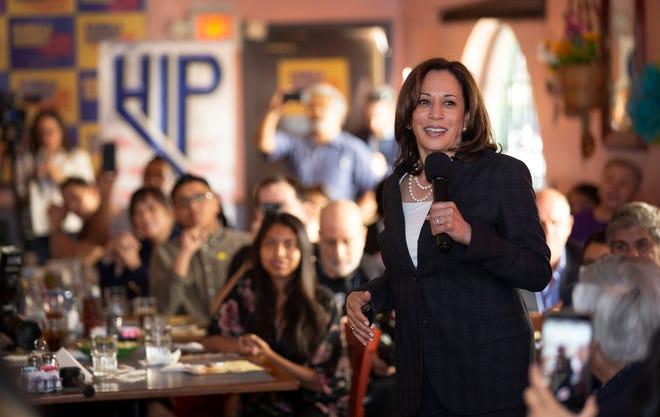 Democratic presidential candidate Sen. Kamala Harris, D-Calif., speaks during a Hispanics in Politics event at the Dona Maria Tamales restaurant in Las Vegas, Thursday, May 16, 2019. (Steve Marcus/Las Vegas Sun via AP)