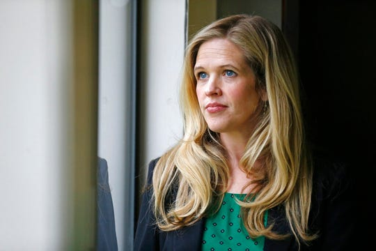"Bethany Warr, a lawyer with the Utah Victim's Clinic and works with victims of child pornography in Utah, looks on at her office Friday, May 17, 2019, in Salt Lake City. Investigators say child pornography arrests have nearly doubled in Utah over the last five years, mirroring a nationwide trend. For child victims, the emotional and physical damage can be long-term, especially because the images can exist online forever, said Warr. ""It's a wound that never heals, the material is out there and you don't know who in the world has seen you, seen your abuse and pain, and enjoyed it,"" she said. (AP Photo/Rick Bowmer)"