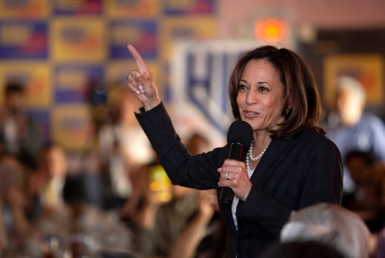Democratic presidential candidate Sen. Kamala Harris, D-Calif., speaks during a Hispanics in Politics event at the Dona Maria Tamales restaurant in Las Vegas, Thursday, May 16, 2019. (Steve Marcus/Las Vegas Sun via AP)