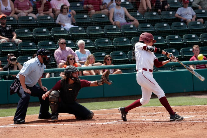 Florida State Seminoles outfielder Zoe Casas (6) makes contact with the pitch. The Florida State Seminoles host the Bethune-Cookman Wildcats in the first round of the NCAA Regional Playoffs Friday, May 17, 2019.