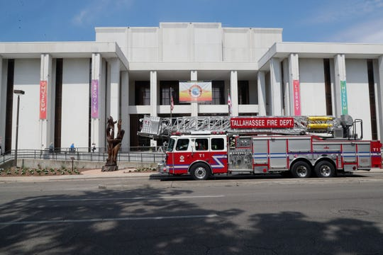 The fire department arrived on the scene at R. A. Gray Building on Bronough Street after a bomb threat was reported Friday, May 17, 2019.