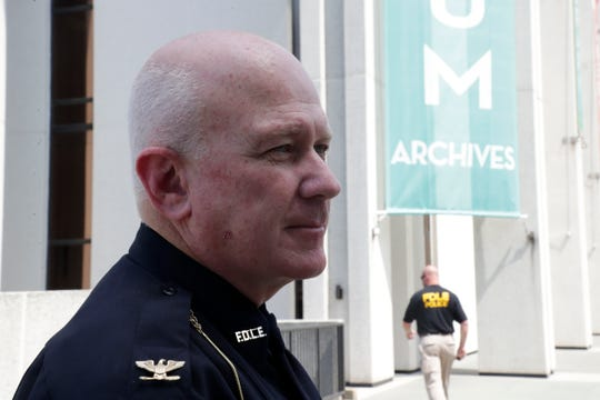 Director of Capital Police Chris Connell reports after a bomb threat at the R. A. Gray Building on Bronough Street that the area was clear Friday, May 17, 2019.