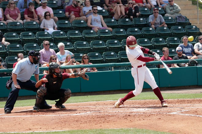 Florida State Seminoles starting pitcher/relief pitcher Cassidy Davis (70) hits the first home run of the game. The Florida State Seminoles host the Bethune-Cookman Wildcats in the first round of the NCAA Regional Playoffs Friday, May 17, 2019.