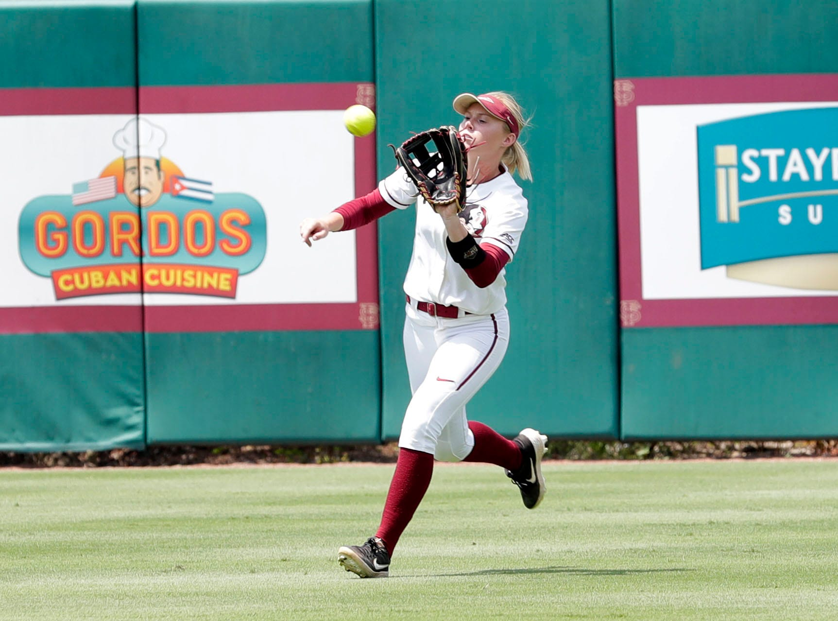 Florida State Seminoles infielder Dani Morgan (1) catches a fly ball. The Florida State Seminoles host the Bethune-Cookman Wildcats in the first round of the NCAA Regional Playoffs Friday, May 17, 2019.