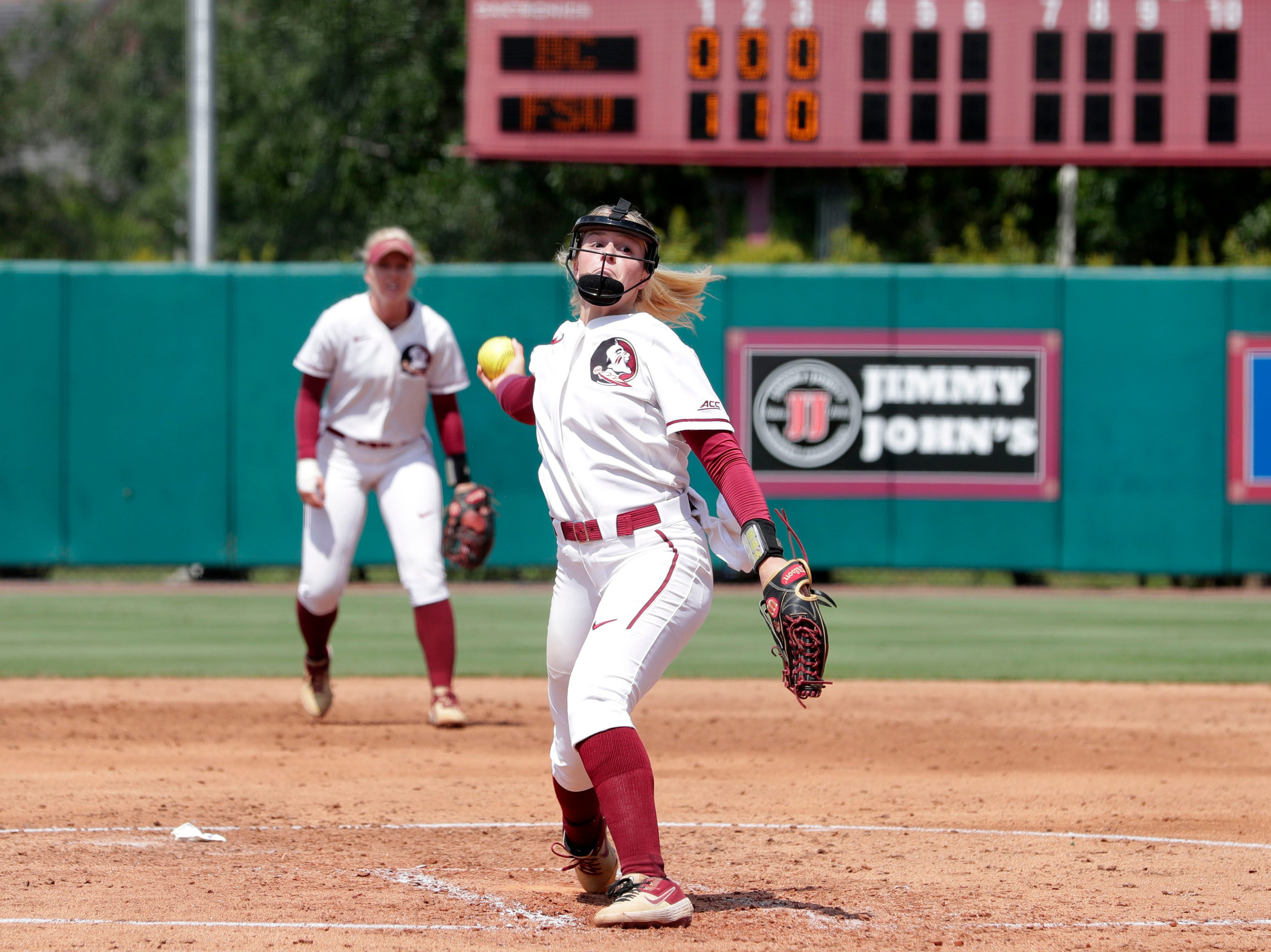 Florida State Seminoles outfielder Sabrina Stutsman (21) pitches to the batter. The Florida State Seminoles host the Bethune-Cookman Wildcats in the first round of the NCAA Regional Playoffs Friday, May 17, 2019.