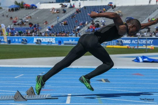Sheldon Richardson of Nims Middle School ran in the 100, 200, 4x100 and 4x400 at the FLYRA Middle School State Track & Field Championship at IMG Stadium in Bradenton.