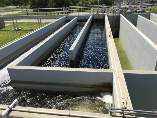 Reclaimed water is treated with chlorine at the Westport Wastewater Treatment Plant in Port St. Lucie.