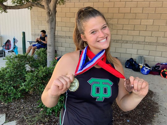Thousand Oaks High senior Amanda Spear won the Marmonte League in the girls discus throw and finished third in the shot put on April 26, part of an incredible month of improvement that ended with a CIF-Southern Section Division 2 championship in the discus.
