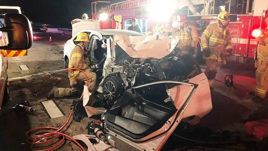 This crash at Highway 101 and Highway 33 in Ventura trapped a driver and shut down southbound Highway 101 on Thursday night.