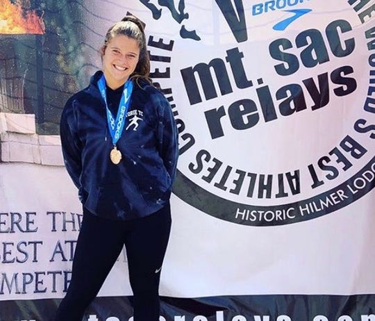 Thousand Oaks High senior Amanda Spear finished fifth in the women's discuss at the Mt. SAC relays on April 20, part of an incredible month of improvement that ended with a CIF-Southern Section Division 2 championship in the discus.