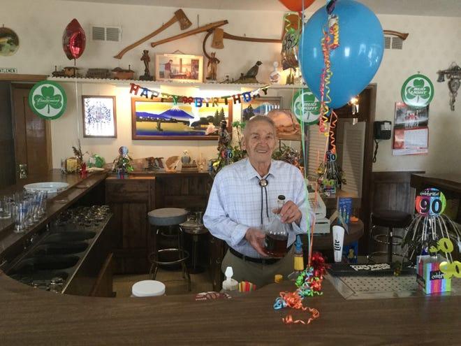 Wally Rozella at a birthday celebration at Wally's Bar in an undated photo.
