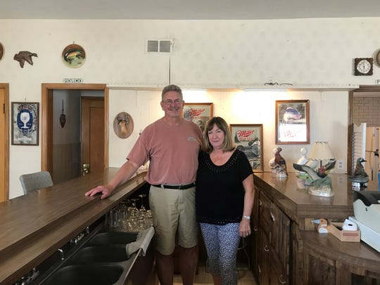 Walt and Carol Rozella in Wally's Bar on May 15, 2019, as they prepared to hand the bar over to its new owner.