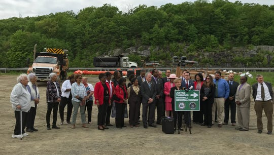 Rockland officials and residents mark Thurgood Marshall Day in New York on Friday, May 17. They gathered along Route 17, where advocates want a stretch of the highway named for the U.S. Supreme Court justice.