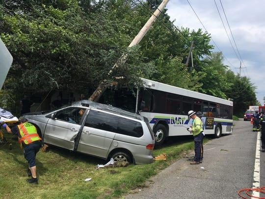 A crash involving a DART bus has shut a portion of Marsh Road.