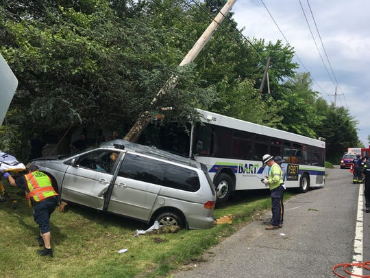 A crash involving a DART bus has shut a portion of Marsh Road.