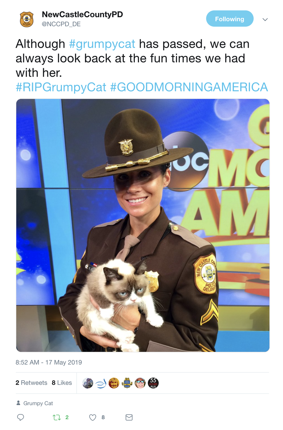 New Castle County Police tweeted a photo of one of its officers with the famous cat.