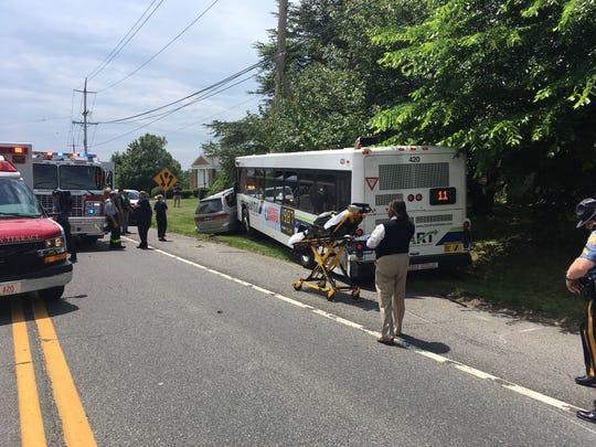 A crash involving a DART bus shut a portion of Marsh Road on Friday.