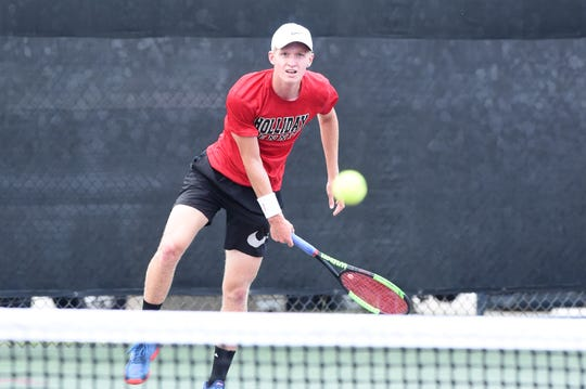 Holliday's Tyler Webb follows through on a serve during the Class 3A boys singles final at the UIL state tournament. Webb faced Brady's Jack Marshall in a rematch of the region final, falling 6-3, 6-4 to win the silver medal as state runner-up.