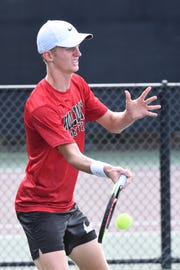 Holliday's Tyler Webb competes during the Class 3A boys singles state final in College Station. Webb earned the silver medal as state runner-up.