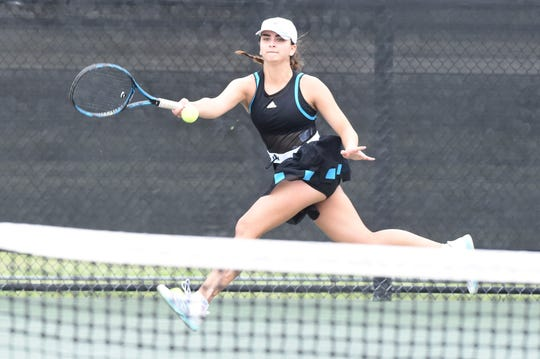 London's Sara Humpal competes during the Class 3A girls singles final at the UIL state tournament in College Station on Friday, May 17, 2019. Humpal earned the silver medal as state runner-up.