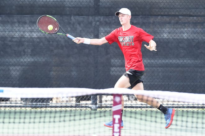 Holliday's Tyler Webb reaches for a shot during the Class 3A boys singles state final. Webb fell to defending state champion Jack Marshall of Brady 6-3, 6-4.