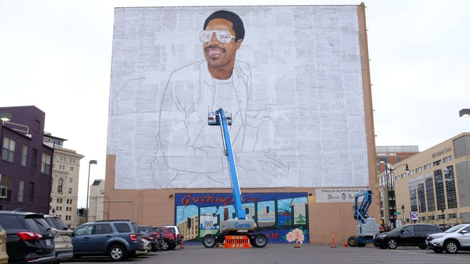 This mural of Stevie Wonder in Detroit is large enough that airplanes will be able to see it as they fly past.