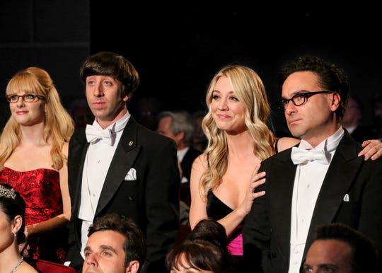 The gang reacts to Sheldon's Nobel Prize acceptance speech, in which he finally realized his accomplishments were not his alone. (From left: Melissa Rauch, SImon Helberg, Kaley Cuoco and Johnny Galecki)