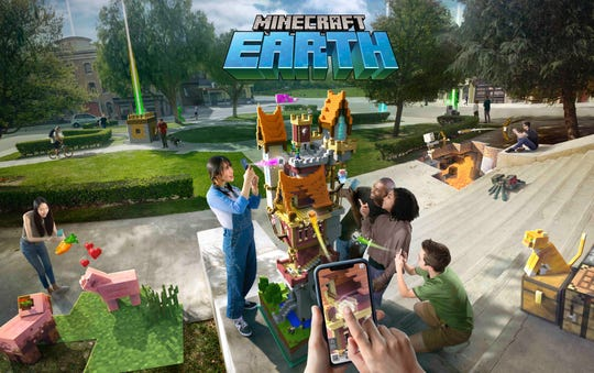 Microsoft and Mojang have announced a new Minecraft game, 'Minecraft Earth,' for mobile devices, which uses augmented reality to place objects from the game in your real world.