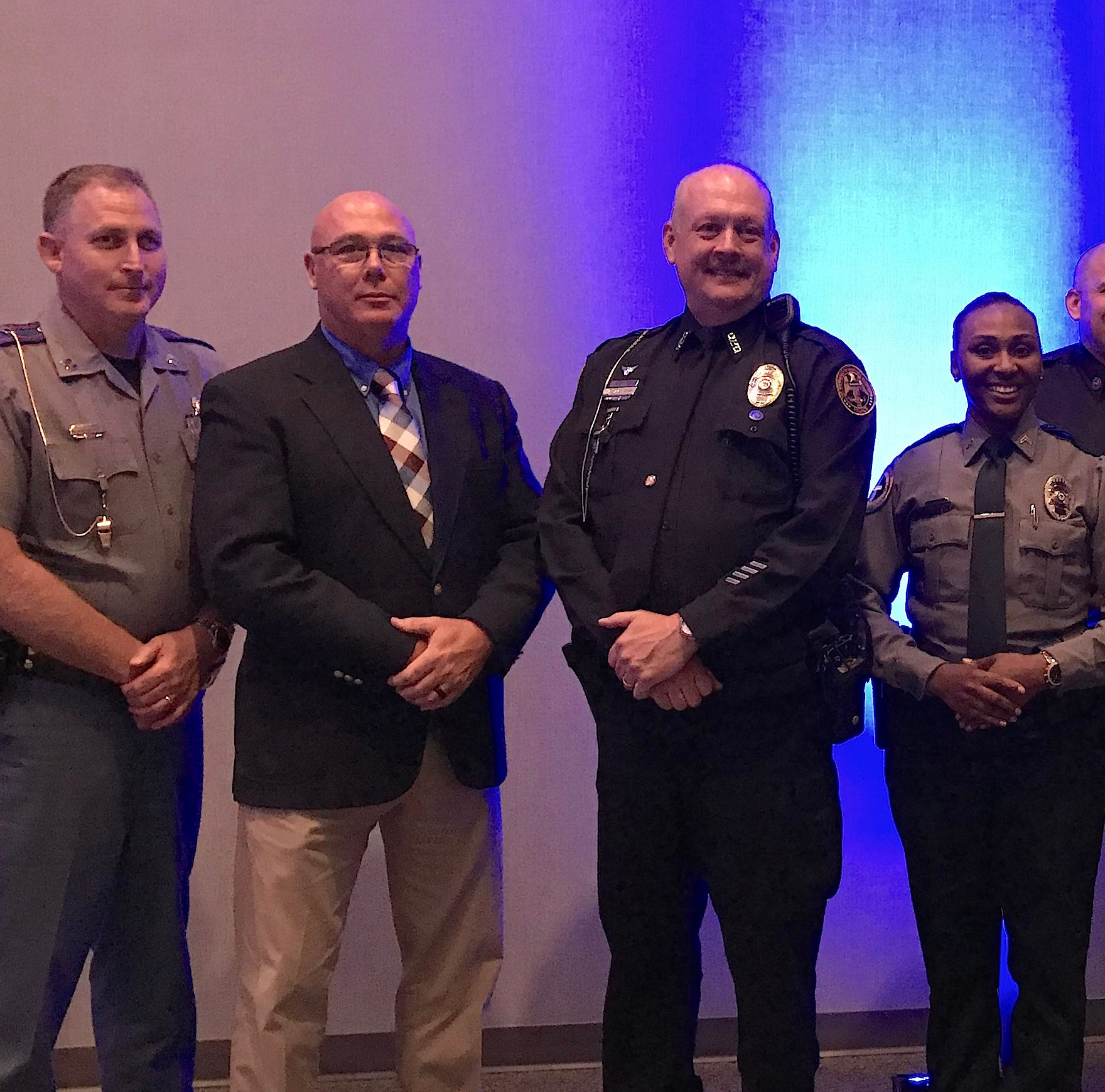 Hattiesburg Hundred honored seven local officers during an appreciation dinner Thursday, May 16, 2019 at Lake Terrace Convention Center. The officers, from left, are Highway Patrol Capt. Ricky Lott; Forrest County Deputy Tim Hartfield; USM police officer David Byrd; Forrest General Hospital police officer Jessica Clark; Hattiesburg firefighter Brian Sheffield; Lamar County investigator Scott Wagner; and Hattiesburg police officer Alex Kitch.