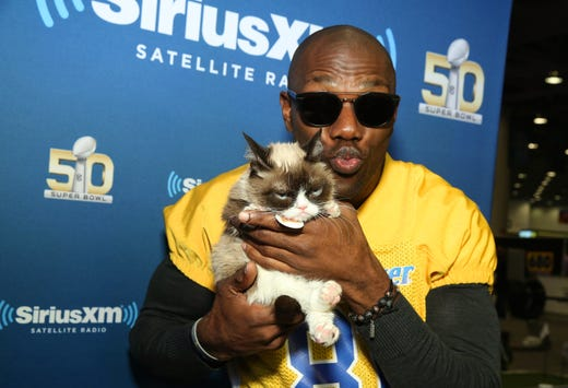 SAN FRANCISCO, CA - FEBRUARY 04:  Former NFL player Terrell Owens and Grumpy Cat attend SiriusXM at Super Bowl 50 Radio Row at the Moscone Center on February 4, 2016 in San Francisco, California.  (Photo by Cindy Ord/Getty Images for Sirius) ORG XMIT: 598497175 ORIG FILE ID: 508431696