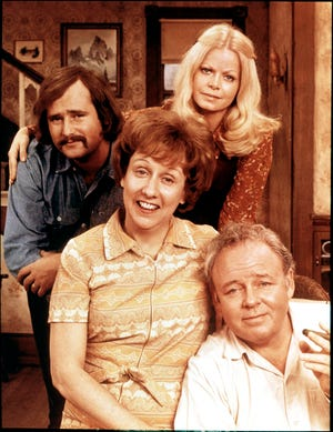 "Rob Reiner, left, Jean Stapleton, Sally Struthers and Carroll O'Connor portrayed a working-class Queens family in groundbreaking sitcom ""All in the Family,"" which premiered Jan. 12, 1971."