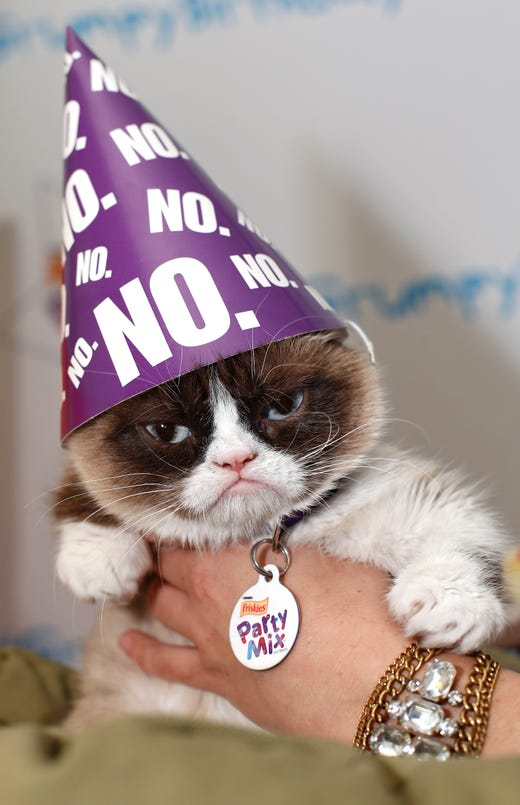 """IMAGE DISTRIBUTED FOR FRISKIES - FriskiesÆ Party Mixô celebrates its official spokescat Grumpy Cat's """"Super Terrible Twos"""" birthday on Tuesday, April 29, in New York City. (Brian Ach/AP Images for Friskies) ORG XMIT: CPA730"""