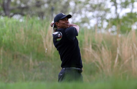 Tiger Woods hits from the fourth tee during the second round of the PGA Championship.