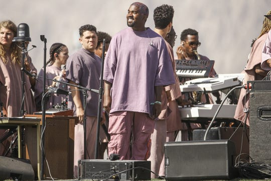 Kanye West performs Sunday Service during Coachella on April 21.